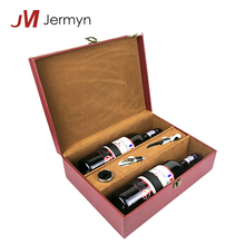 Custom design handmade PU leather cover wooden wine gift box