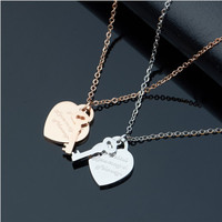 Yiwu Aceon Stainless Steel Stamped Heart Pendant With Key Charm