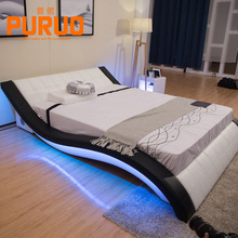 B-A044-2# Colorful bed lighting music player mobile phone charger leather soft king size led bed