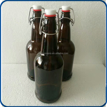 16 oz Glass Grolsch-Style Beer Brewing Fermenting Bottles - With Swing Top Caps