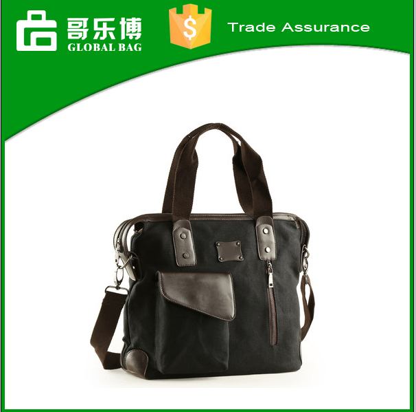 2016 Yiwu wholesale Fashion canvas/leather business hand bag laptop leisure shoulder bags for man