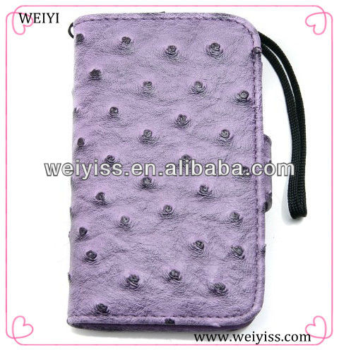Purple Ostrich Fashion Hot Selling Wallet Case With Lanyard for iPhone 5