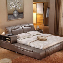 curved modern king size leather bed lift storage leather bed
