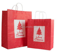 Custom Low Cost White Kraft Craft Merry Christmas Brown Paper Gift Bag
