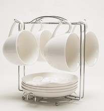 250ml Ceramic Porcelain Fine Bone China Jacobs Style Coffee Cup and Saucer Plate Rack Sets