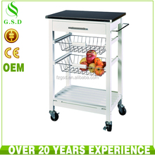 wholesale new design solid wood serving tea trolley/food cart/liquor with stainless steel top