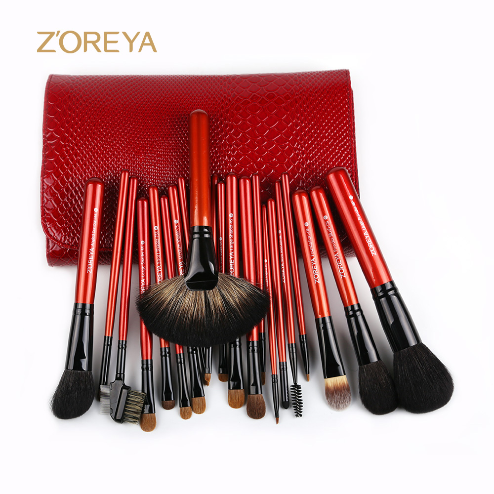 Women beauty care makeup tools red color wooden handle make up brush set/cosmetic brushes sets