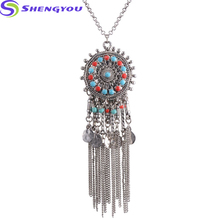 Jewelry Fashion Necklaces Two Colors Long Chain Necklace Bead Plated Circle Pendant Tassel Necklace