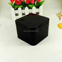 Antique style black square tea tins wholesale
