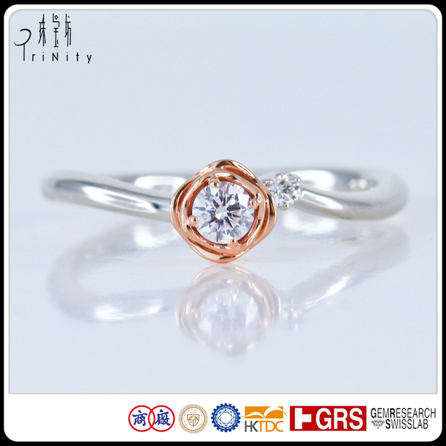 Anniversary Gift Wholesale Micro Prong Setting 18k Rose Gold And Natural Diamond Solitaire Rose Shaped Diamond Engagement Ring