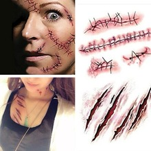 Halloween Zombie Scars Tattoos With Fake Scab Blood Special Costume Makeup Halloween Decoration