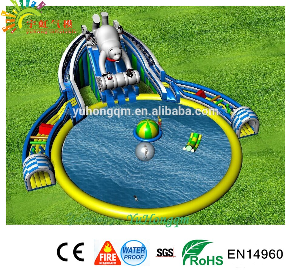 giant polar bear adult commercial inflatable slide for water park durable inflatable commercial water park toys