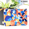 Colorful custom printed fashion make up cosmetic cotton canvas zipper pouch bag