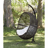 Netted design patio or indoor decorative furniture rattan swing hanging chair