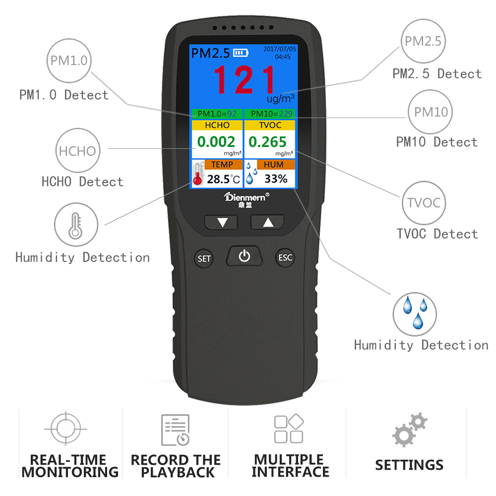 Air quality tester Portable Handheld PM2.5 PM1.0 PM10 HCHO TVOC Indoor Air Quality Detector monitor