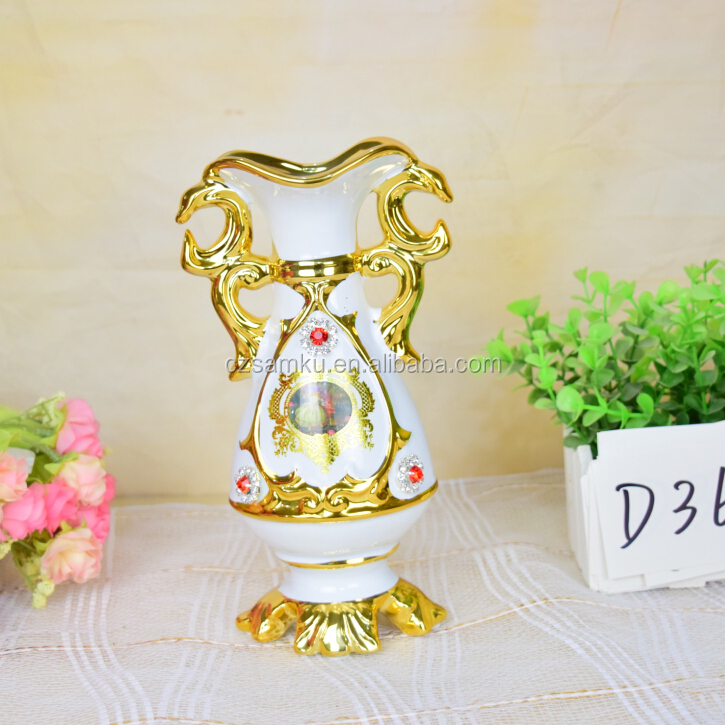 "White gold glazed home decoration wedding gift ceramic flower vase 8"" 2016 new"