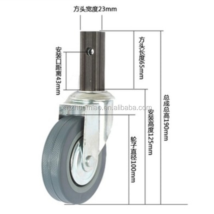 Quality hot-sale 4 inch caster wheel for dining cart caster shopping cart wheel with break hollow kingpin swivel caster