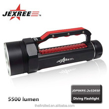 Jexree factory 3*XM-L T6 LED stepless dimming 5500LM aluminum led diving torch light