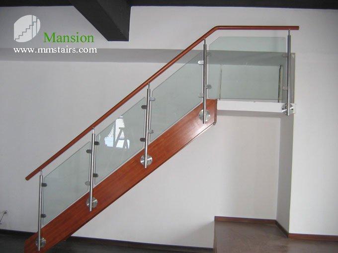 Mansi n de madera escaleras interiores de vidrio recto - Escaleras de cristal y madera ...