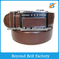 Beyond Men's 35mm Wide Brown Solid Real Leather Auto Lock Business Belt
