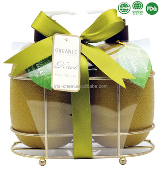 Enjoy a relaxing bath spa with kiwi shower gel body lotion in wire basket