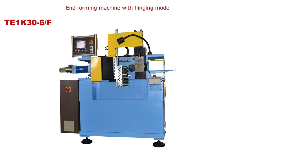 automatic tube end forming machine with flinging mode