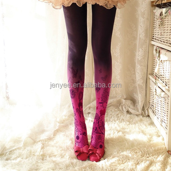High quality custom photo sublimation tights design your own tights with graduated color, tights woman, girls tights