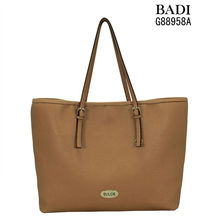 2013 most popular camel leather handbags ladies metal logo manufacturer hand bags in guangzhou