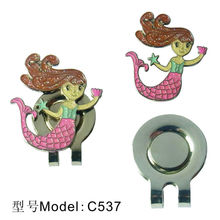 2013 new style metal golf hat clips with ball marker\ mermaid golf hat clips with ball marker\ golf products