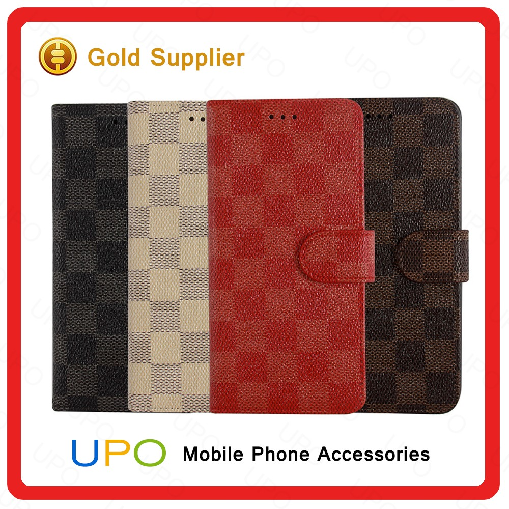 [UPO] 2016 New Design Lattice Pattern PU Leather Wallet Flip Soft Back Cover Case For Apple iPhone 6 6s 4.7''