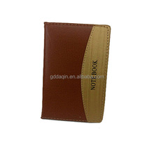 Two-tone PU leather diary custom logo notebook, four lined paper line notebook, oem notebook