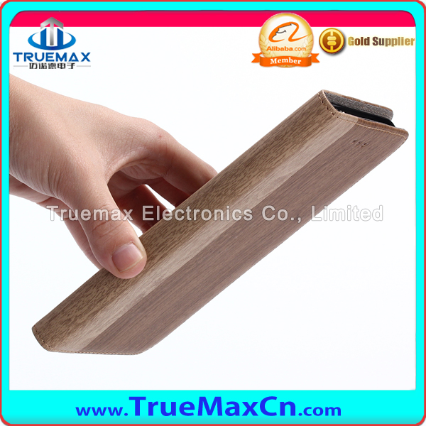 Slim Wood Grain PU Leather Flip Cover Phone Case for iPhone 7 Plus