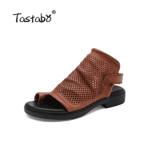 Latest Genuine Leather Women Summer Shoes Simple Ladies Fashion Flat Sandals