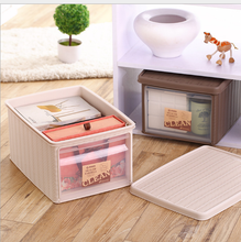 Promotional foldable plastic rattan wicker drawer storage box