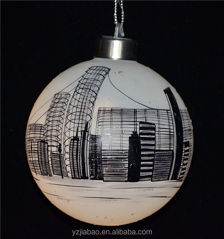 10cm decorating christmas big balls with led decorative light and tall buildings as christmas decor from shop online in china