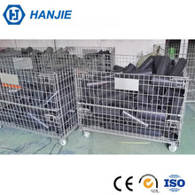Industrial storage container collapsible metal pallet cage with wheels