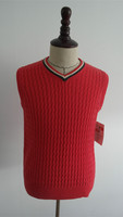 Fashion cable knit pink men sweater vest