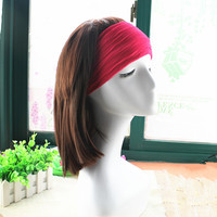 In stock low price women hair accessories wide turban elastic solid color yoga headband