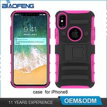 Outdoor shockproof rugged combo hybrid phone case for iphone 8 cover case with holster