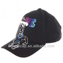 Wholesale cheap embroidery black fitted custom perfect curve baseball hat and cap
