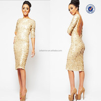 2015 Koo True Angel Matte Gold Large Sequin 3/4 Sleeved Bodycon Evening Midi Dress