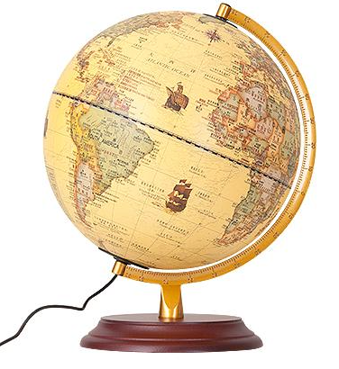 LED Geography Earth Nation World Mountain Landscape Map Globe Light Metal Wood Base Home Office Decorations Lamp Gifts