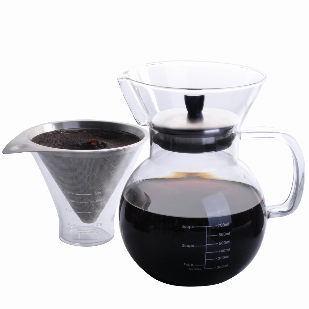 Pour Over Coffee Maker Set Perfect Hand Drip Coffee maker with measuring glass and 18-8 stainless steel filter