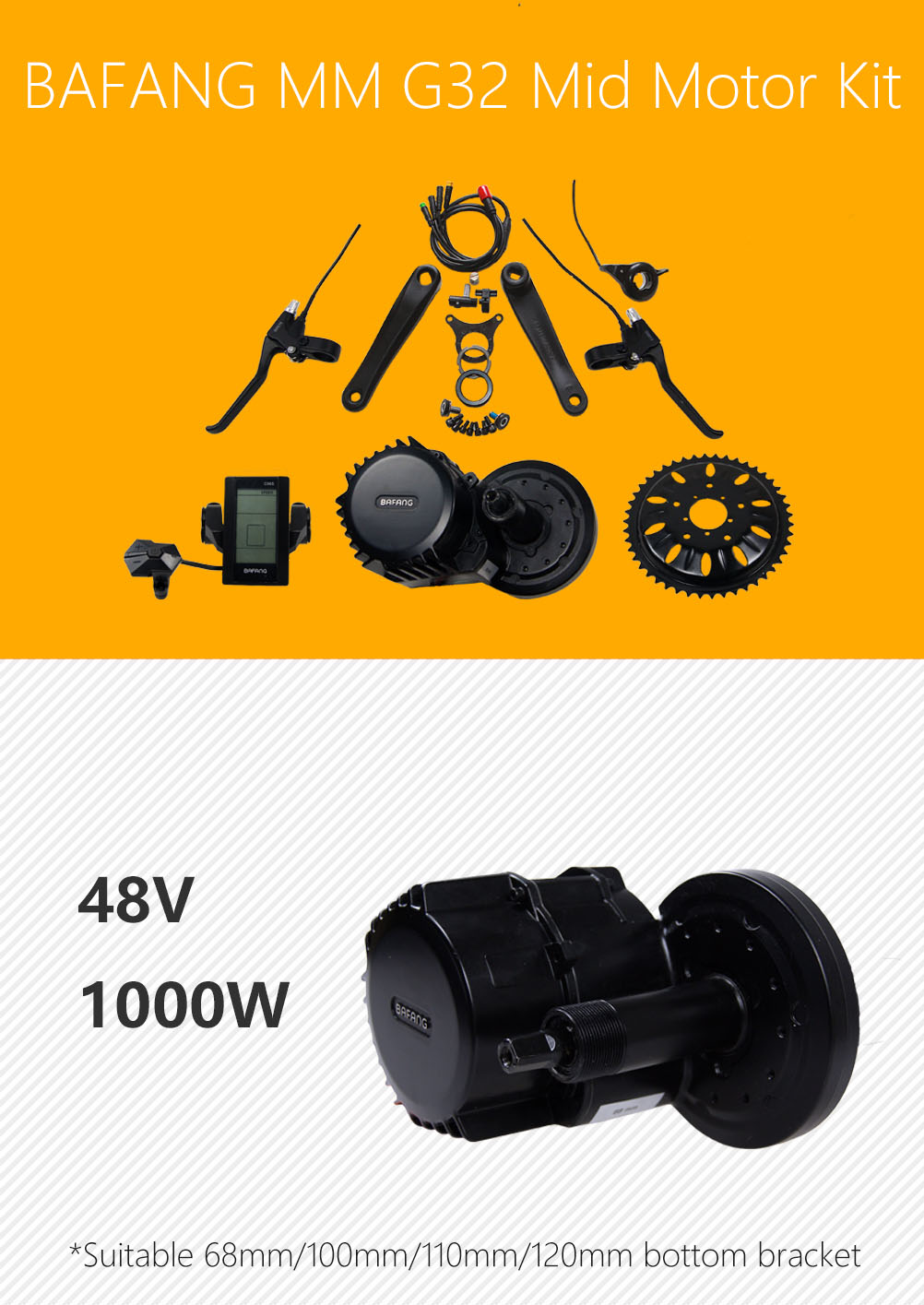 Factory price electric bicycle brushless gear mid motor kit 1000W BBS03 BBSHD colorful display