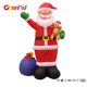 Smiling face indoor/outdoor inflatable decoration Santa Claus with gift bag and bear