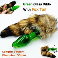 Green crystal anal dildo pyrex glass butt plug with to fox cat tail adult Glass Anal Sex Toys