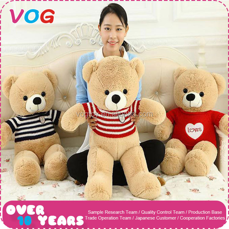 Fashion plush teddy bear soft toy OEM custom size wear sweater bear toy for Xmas gift