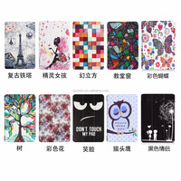 case For Amazon Fire7 2017, High quality Tablet cover super slim Printed Tri Fold PU Leather Case for Amazon Fire7 2017
