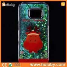 Hot Sale Christmas Transparent Hard PC Quicksand Back Cover Case For Samsung Galaxy S7 G9300 With A Red Deer