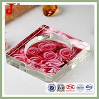 Beautiful clear cheap Printing Glass Ashtray For Table Decoration